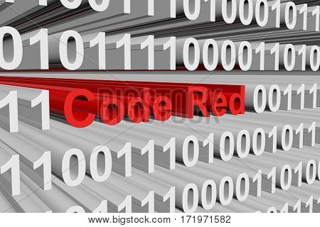 code red is presented in the form of binary code 3d illustration