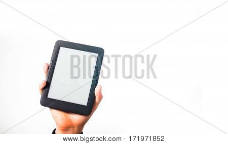 Guy, Man, Hand In A Plaid Shirt Holding An E-book, Study, Student, Your Text Here,