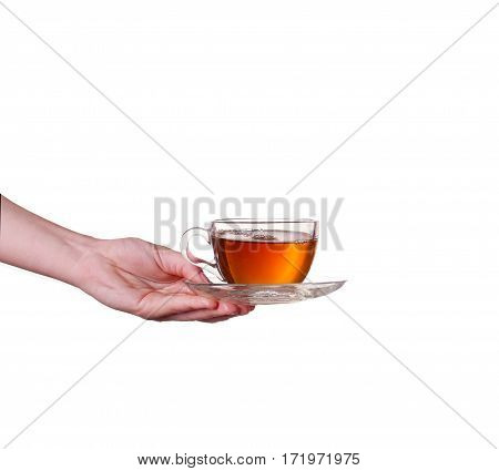 Glass cup of tea with splash on white