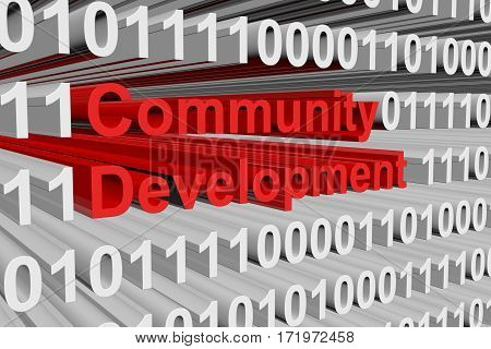 community development is presented in the form of binary code 3d illustration