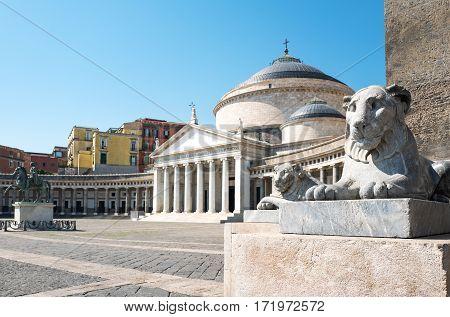 Italy Naples Plebiscito square with the St Francesco di Paola church