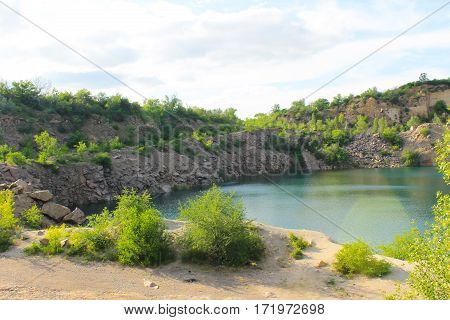 View on the lake at abandoned quarry
