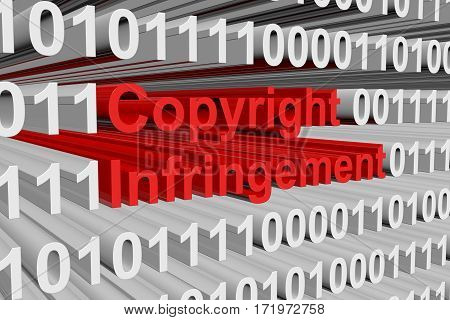 copyright infringement is presented in the form of binary code 3d illustration