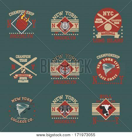 New york Brooklyn sport typography t-shirt college team set - vector