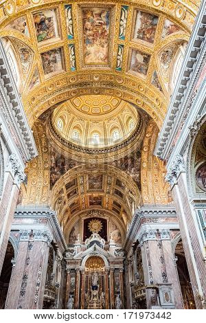 Naples Italy - August 3 2015: The painting and decoratios of the nave of the Del Gesù Nuovo church