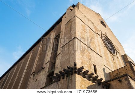 Italy Naples upward view of the the Santa Chiara monastery facade