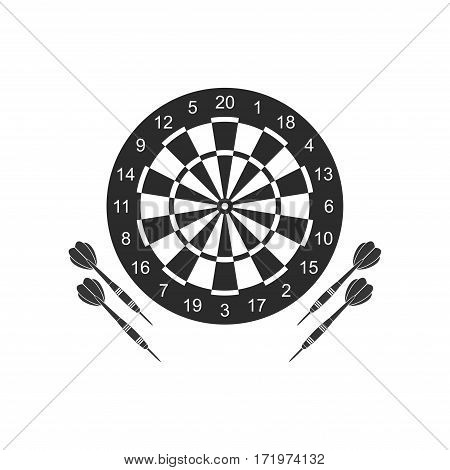 Classic dart board target and darts arrow icons isolated on white background. Vector Illustration