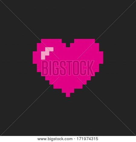 Heart pixel pink icon isolated on black background. Romantic love vector illustration