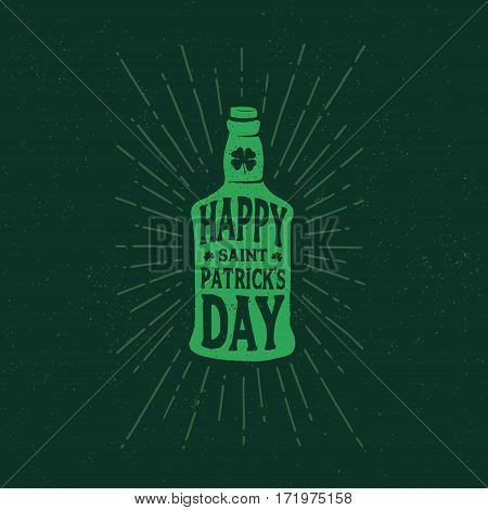 St. Patrick's Day. Retro style emblems bottle of beer. Typography. Vector illustration.
