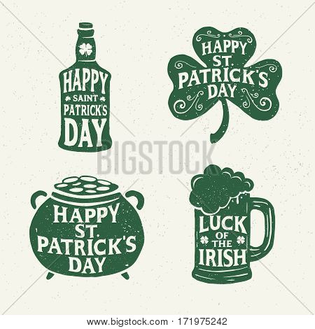 St. Patrick's Day. Retro Style. Set Emblems: leaf clover, pint beer, leaf clover, bottle of beer. Typography. Vector illustration.