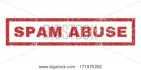 Spam Abuse text rubber seal stamp watermark. Caption inside rectangular banner with grunge design and dirty texture. Horizontal vector red ink sign on a white background.