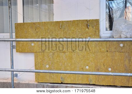Exterior house wall heat insulation with mineral wool