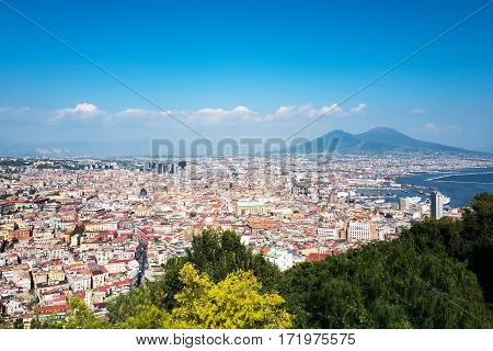 Italy Naples panorama of the city seen from the Certosa Di San Martino