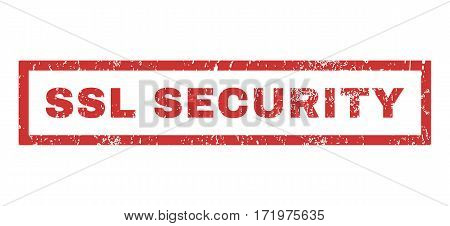 SSL Security text rubber seal stamp watermark. Caption inside rectangular banner with grunge design and dust texture. Horizontal vector red ink emblem on a white background.