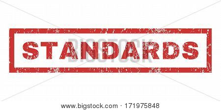 Standards text rubber seal stamp watermark. Tag inside rectangular shape with grunge design and dust texture. Horizontal vector red ink emblem on a white background.