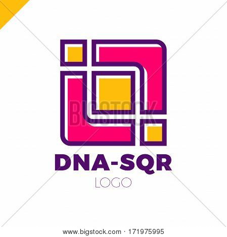 Dna Vector Logo Design Template. Modern Medical Logotype. Laboratory Science Icon Symbol. Colorful P