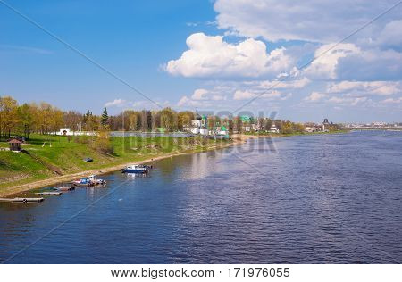 Spring landscape with the river and the monastery in the ancient city of Pskov