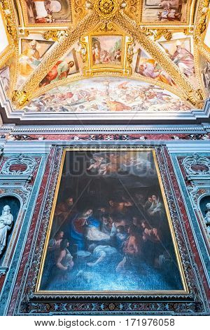 Naples Italy - August 4 2015: Certosa Di San Martino painting and decorations of the Farmacie halls