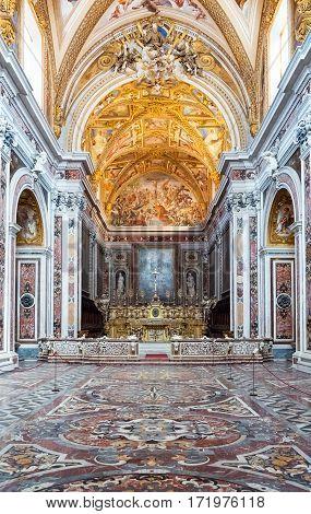 Naples Italy - August 4 2015: The Certosa Di San Martino church