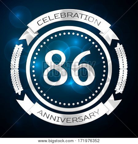Eighty six years anniversary celebration with silver ring and ribbon on blue background. Vector illustration