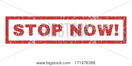 Stop Now exclamation text rubber seal stamp watermark. Caption inside rectangular shape with grunge design and scratched texture. Horizontal vector red ink emblem on a white background.