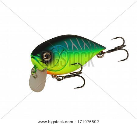 Fishing Lure Isolated On White. Wobbler In Three Color. Green And Black.