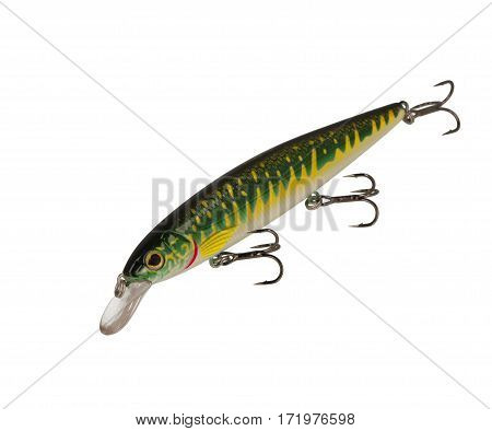 Fishing Lure Wobbler Isolated On White Background. Pike Wobbler