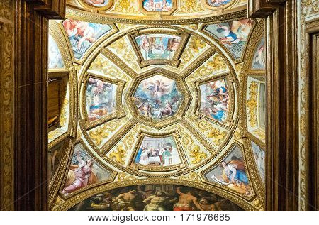 Naples Italy - August 4 2015: Certosa Di San Martino ceiling painting and decorations of the Farmacie halls