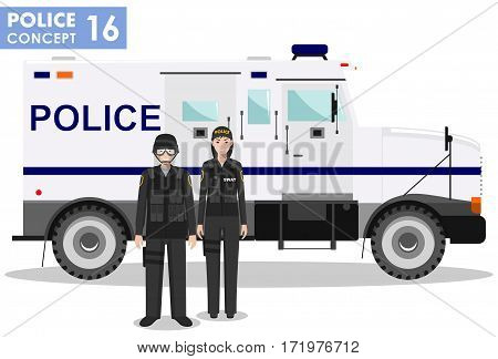 Detailed illustration of police car, SWAT officer, policewoman and policeman in flat style on white background.