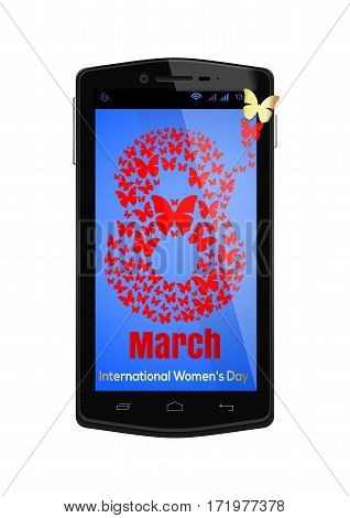 Congratulations on March 8 on the screen of smartphone. Realistic smartphone isolated on white background. Number 8 consists of flying butterflies.  International Women's Day card. Vector illustration