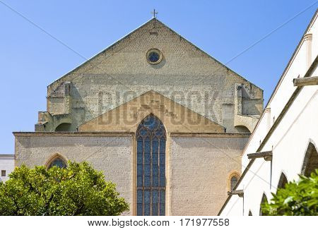 Italy Naples the Santa Chiara Monastery apse seen from the cloister