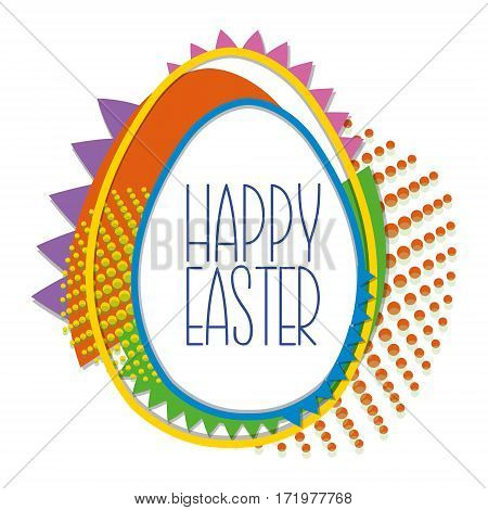 Decorative Easter Background With Egg In Pop Art Style With Colored Dots. Perfect For Greeting Card