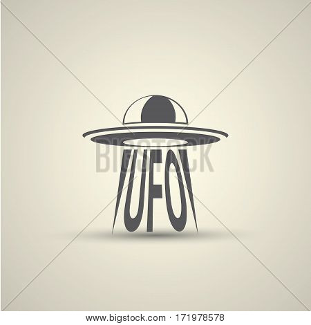 Ufo flying saucer vector icon isolated on background. Ufo logo design template