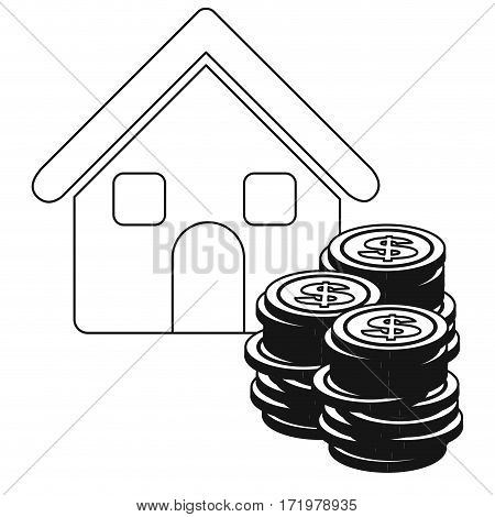 monochrome contour with house and stacking coins vector illustration
