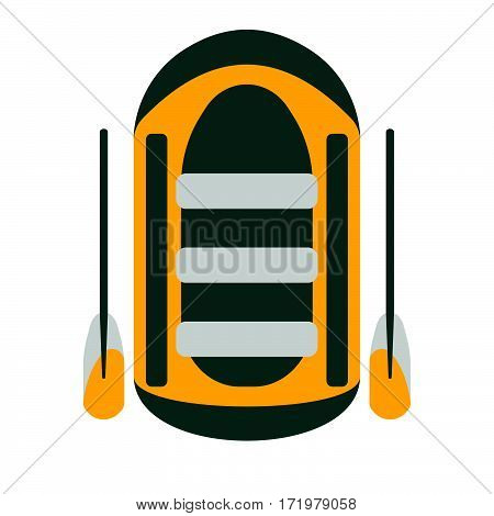 Raft Icon. Tourism Equipment. River Boat Trip Web Elements. Vector Illustration.