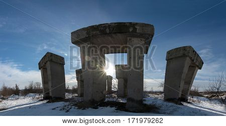 Industrial concrete megaliths at an abandoned cement factory. Allegory with Transformers from the eponymous blockbuster.
