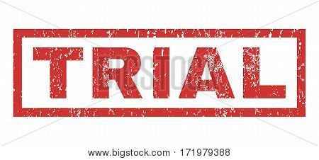 Trial text rubber seal stamp watermark. Tag inside rectangular banner with grunge design and unclean texture. Horizontal vector red ink sticker on a white background.