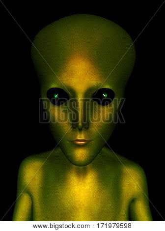 Alien creatures head and shoulders portrait with green scaled skin and dark staring eyes 3d Illustration