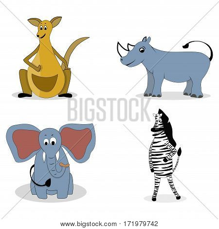 Characters carnivores vector. Kangaroos and rhino zebra and elephant illustration
