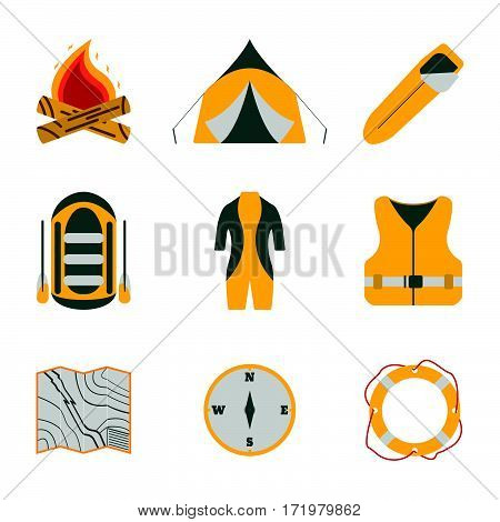 Rafting And Tourism Icons Collection. Tourism Equipment. River Boat Trip Web Elements. Vector Illust