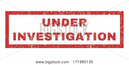 Under Investigation text rubber seal stamp watermark. Tag inside rectangular banner with grunge design and dust texture. Horizontal vector red ink sticker on a white background.