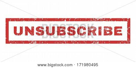 Unsubscribe text rubber seal stamp watermark. Caption inside rectangular banner with grunge design and scratched texture. Horizontal vector red ink emblem on a white background.