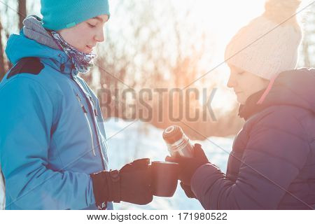 Break For Hot Drink During The Winter Trip