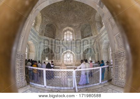 People Visit The Inside Of The Mausoleum Taj Maha