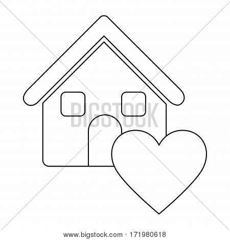 monochrome contour house with icon heart vector illustration