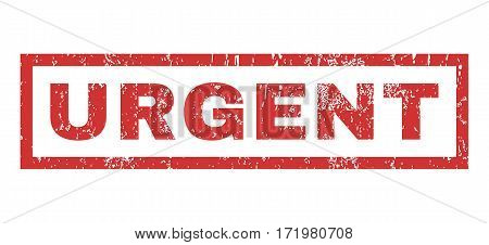 Urgent text rubber seal stamp watermark. Caption inside rectangular banner with grunge design and dust texture. Horizontal vector red ink sign on a white background.