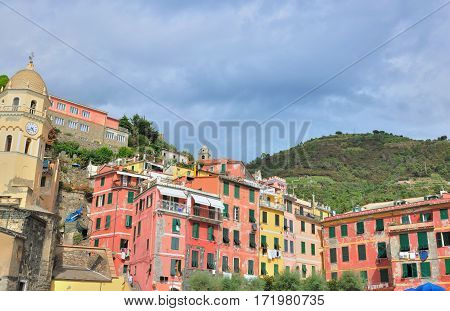colorful facade of buildings in ancient Italian town