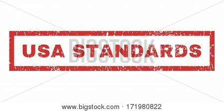 USA Standards text rubber seal stamp watermark. Caption inside rectangular banner with grunge design and dirty texture. Horizontal vector red ink emblem on a white background.