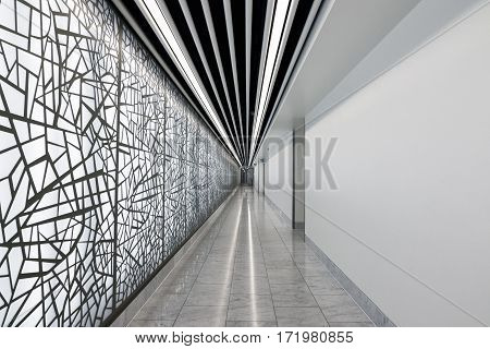 London, UK - February 8, 2016 - A long modern abstract style corridor in Canary Wharf