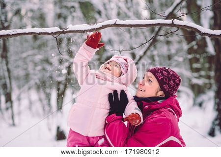 Mother Spending Time With Her Little Daughter Outdoors In The Wintertime